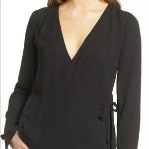 NWT Trouve Black Wrap Top Tie Sleeve, Sz Medium